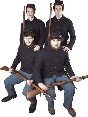 "The Iowa State University actors are about the same ages as the Civil War soldiers they portray in ""Love and Honor: Iowa in the Civil War"" at Fisher Theater in Ames. Clockwise from top left: Michael Clinkscales, Brady Carnahan, Alexander Criswell and Keegon Jackson."