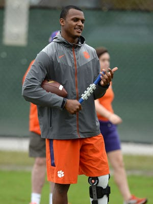 Clemson quarterback Deshaun Watson is on the mend while watching the Tigers' bowl practices in Orlando, Fla.
