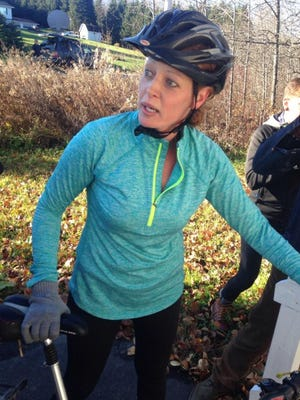 Maine nurse Kaci Hickox defied a state quarantine on Oct. 30, 2014, and went for a bike ride in Fort Kent, Maine.