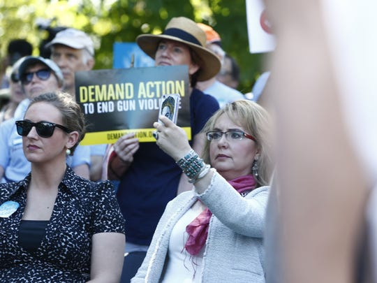 Former U.S. Rep. Gabby Giffords appeared at a rally July 26, 2016, for tighter gun control in Philadelphia.