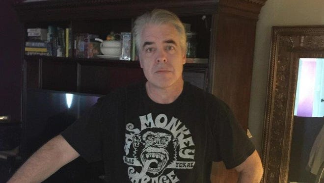 A submitted mug shot photo of Sean McGeough, 53, who is wanted for questioning in a case involving a suspicious death in Calaveras County, Calif.