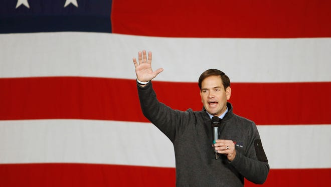 Republican presidential candidate Marco Rubio speaks Saturday, Oct. 31, 2015, during the Growth and Opportunity Party at the Iowa State Fairgrounds in Des Moines.