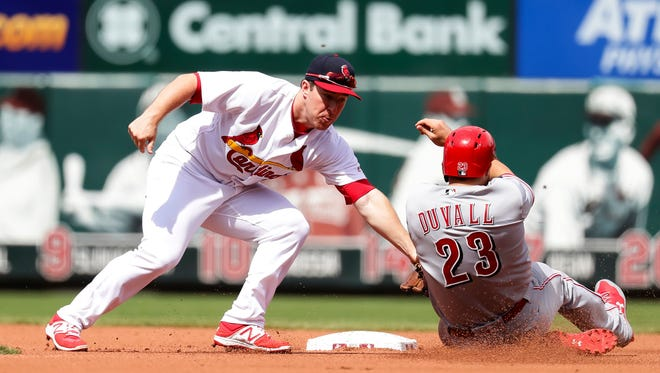 Cincinnati Reds' Adam Duvall (23) is tagged out by St. Louis Cardinals second baseman Jedd Gyorko (3) on a throw by catcher Yadier Molina as he tries to steal second base during the fourth inning of a baseball game Sunday, April 9, 2017, in St. Louis. (AP Photo/Tim Spyers)