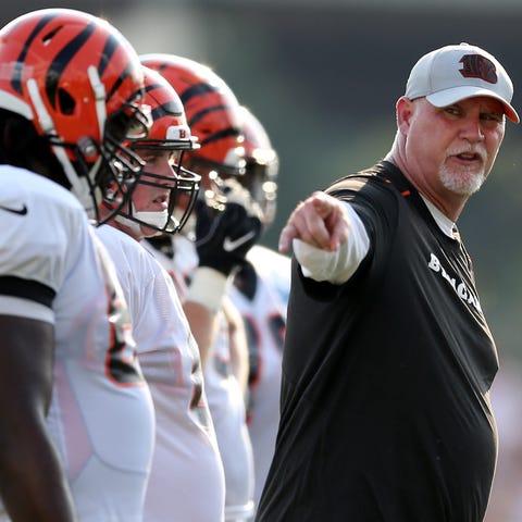 Cincinnati Bengals offensive line coach Frank...