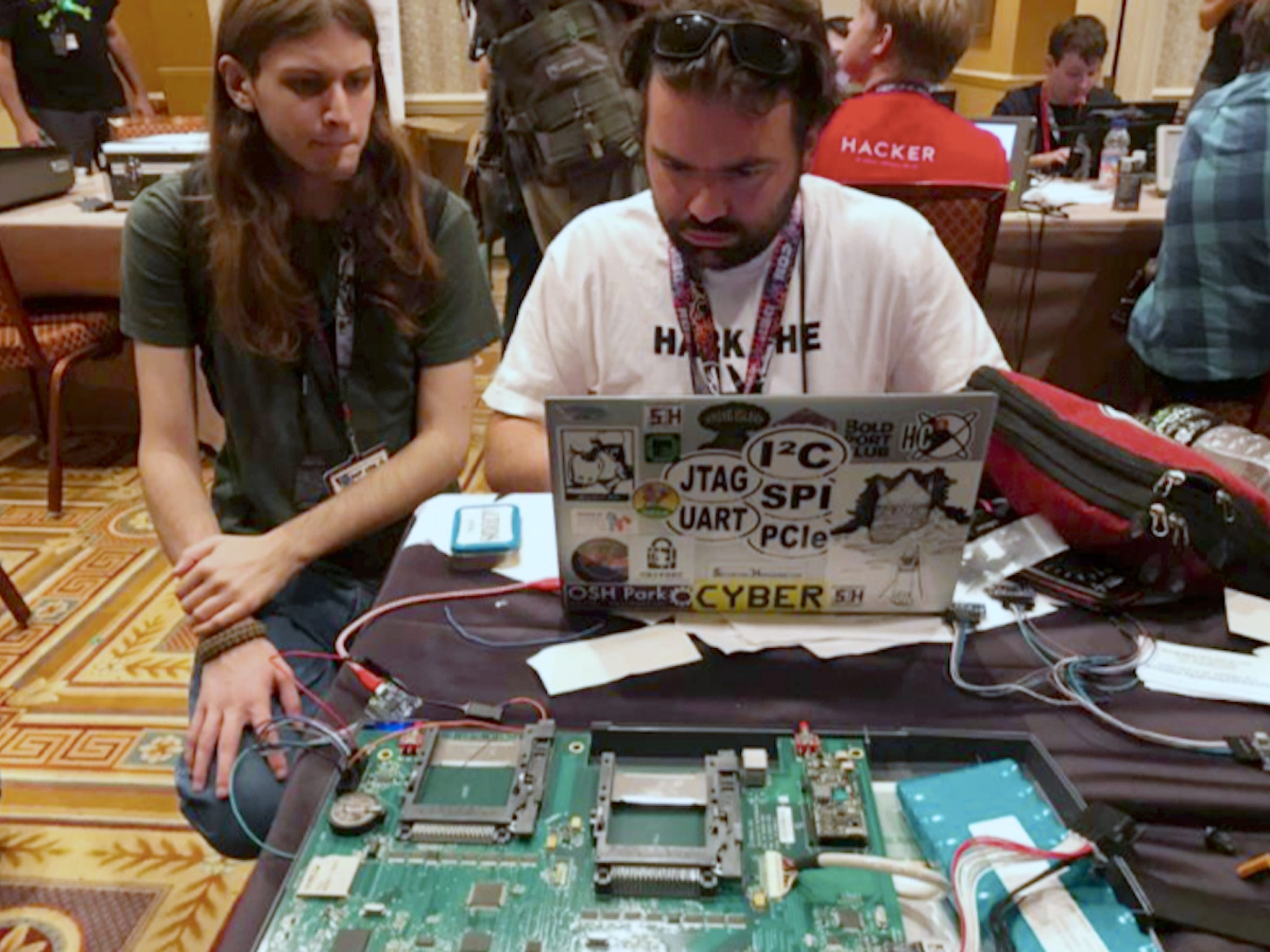 At the Voting Machine Hacking Village demonstration