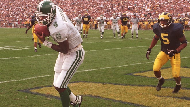 Plaxico Burress set single-season receiving records at MSU in both 1998 and '99.