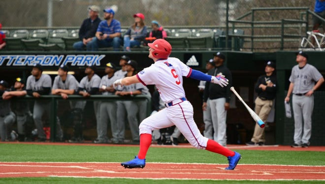 Louisiana Tech third baseman Chase Lunecford, pictured in a game earlier this year, hit two home runs in the Bulldogs' win Tuesday over No. 23 McNeese State.