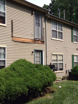 Area of fallen deck is shown Tuesday morning at Stonebridge Apartments.