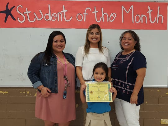 The Guahan Academy Charter School honored its October Student of the Month awardees on Feb. 8. Pictured front row: Lauren Damian. Back row from left: Jovina Munoz; Leah Duenas and Mary Mafnas, Dean of Elementary School Guahan Academy Charter School.
