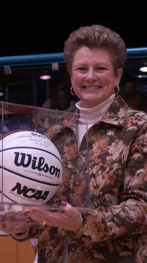 Pam Player, pictured with a ball celebrating her 500th