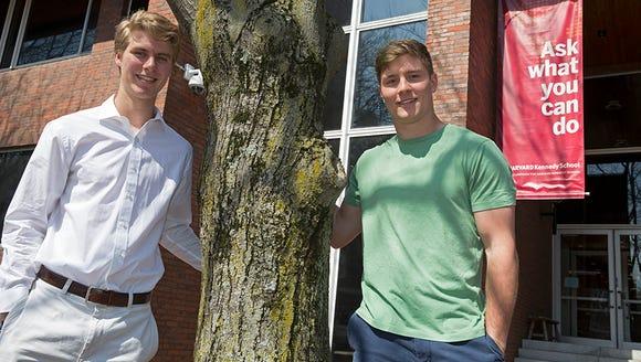 Harvard sophomores Nick Bayh (left) and Beau Bayh,