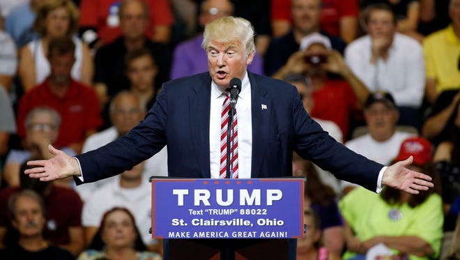 Presidential candidate Donald Trump speaks at Ohio University Eastern Campus in St. Clairsville, Ohio, on June 28.
