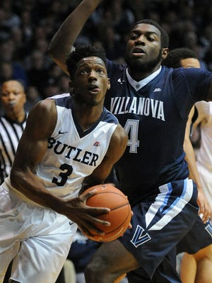 Butler guard Kamar Baldwin passes goes under the basket during the first half at Hinkle Fieldhouse.
