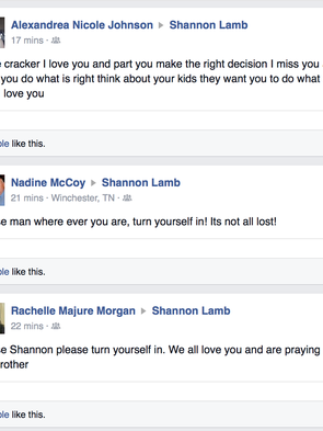 In this screenshot, Facebook friends plea with Shannon