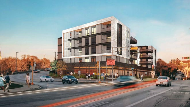 A five-story apartment building with street-level retail space is being proposed for the intersection of Harwood and Harmonee avenues in Wauwatosa.
