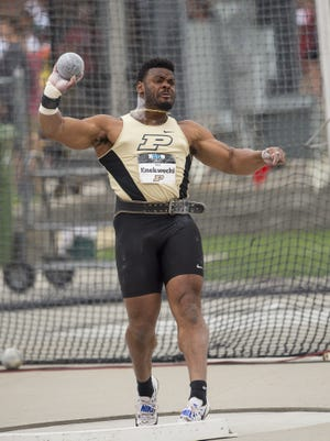 Purdue's Chukwuebuka Enekwechi is seeded second in the shot put and sixth  in the hammer throw at the NCAA Championships in Eugene, Oregon