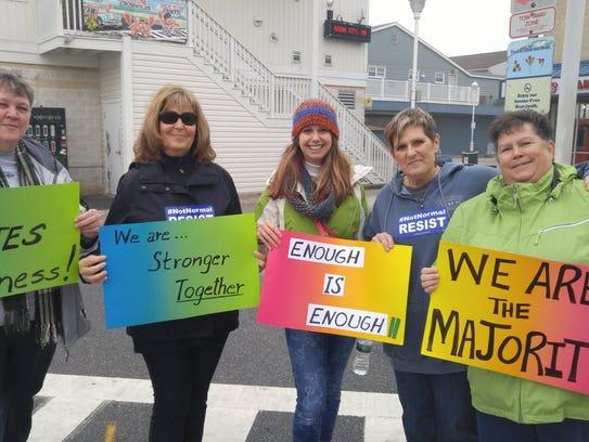Marchers getting ready to walk the Ocean City Boardwalk