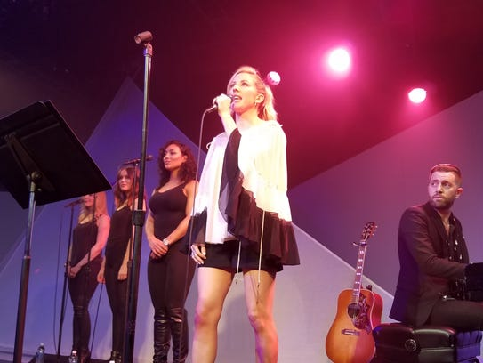 British pop artist Ellie Goulding performs at the launch