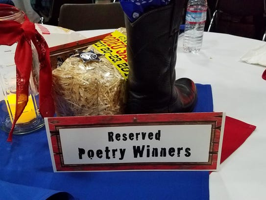 Table decor at the Cowboy Poetry and Music event