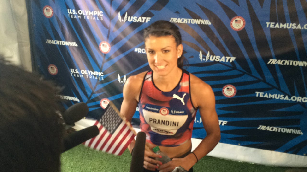 Jenna Prandini, a former Oregon athlete, talks about her fall at the 200-meter finish line Sunday. Despite her fall, she qualified for the Olympics in the event.