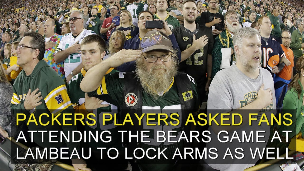 The majority of fans at the Green Bay Packers vs. Bears game held their hands over their hearts for the National Anthem on Sept. 28, 2017.