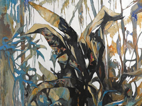 """Detail from """"Jungle,"""" a diptych by Luis Bivar. Mixed media on canvas."""