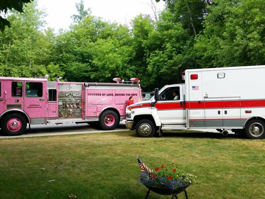 Pink Heals Manitowoc County received this ambulance from the Black River Falls Fire Department. The ambulance will be painted pink, like the organization's fire truck, and named in order to represent the group in their support of those touched by cancer.