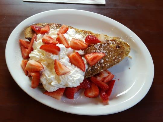 Alo Café's traditional French toast with a cornflake crunch and fruit compote.