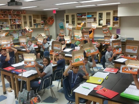 These Desert Sands Unified School District students received educational tool kits to help them learn about water issues.