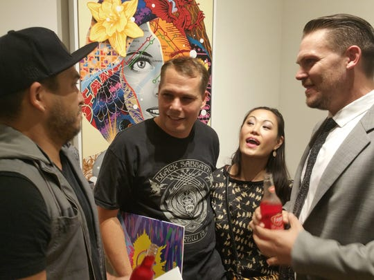 From left, Jason JD Iriarte,  Shepard Fairey of Obey,