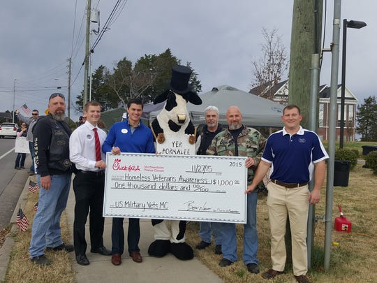 Chik-Fil-A donated $1,000 to the US Military Vets Motorcycle Club Tennessee Chapter 7 to assist veterans and raise awareness of homeless veterans.