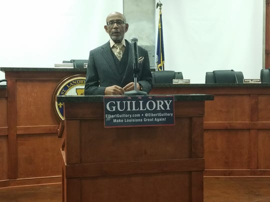 Sen. Elbert Guillory announces the introduction of COPsync Tuesday at the Old City Market in Opelousas.