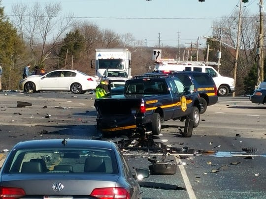 A crash involving six vehicles closed the intersection at Old Baltimore Pike and South College Avenue for hours Monday.