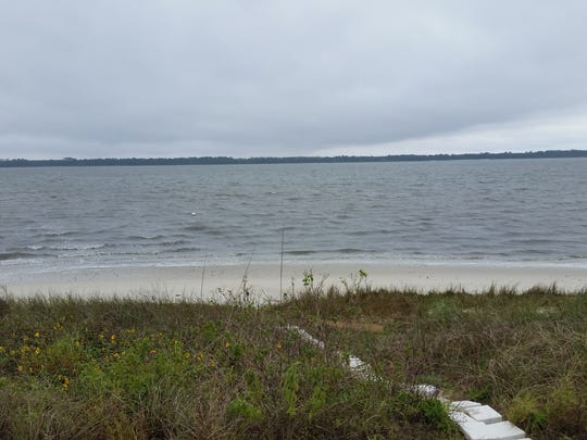 Looking north across Alligator Point Harbor from the exact position of where the target was.