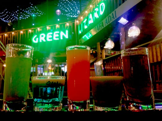 A flight of signature shots served at Green Lizard in Tumon on Feb. 17.