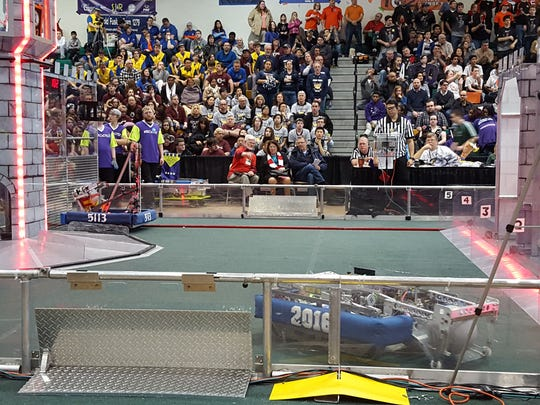 This shot shows how one half of the playing field for FIRST Stronghold, this year's game for the FIRST Robotics Competitions.