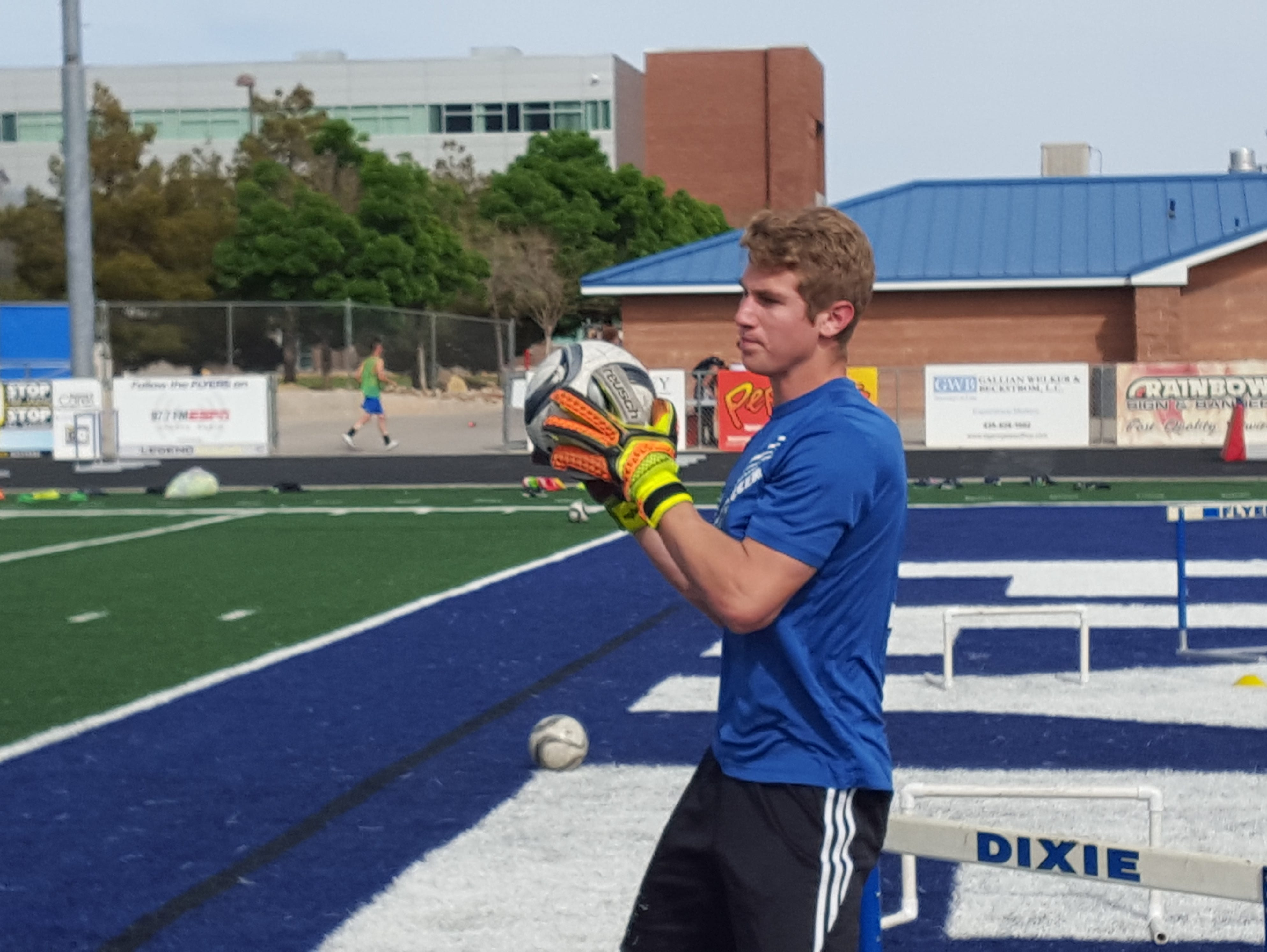 Dixie keeper Ethan Poulton trains during a practice April 6, 2016.
