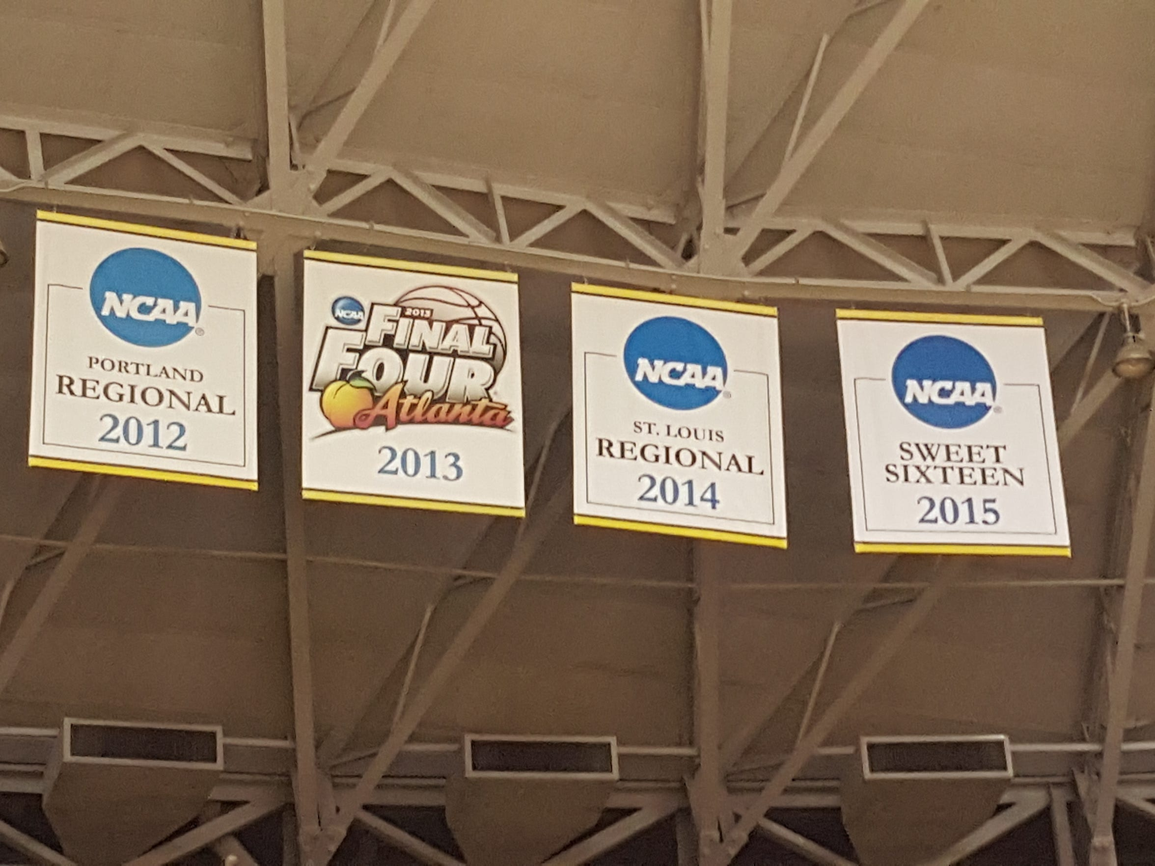 The simple banners hanging from the rafters at Koch Arena help tell Wichita State's story.