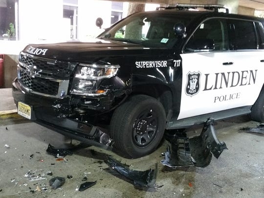 A Linden police supervisor vehicle damaged during Tuesday's car chase.