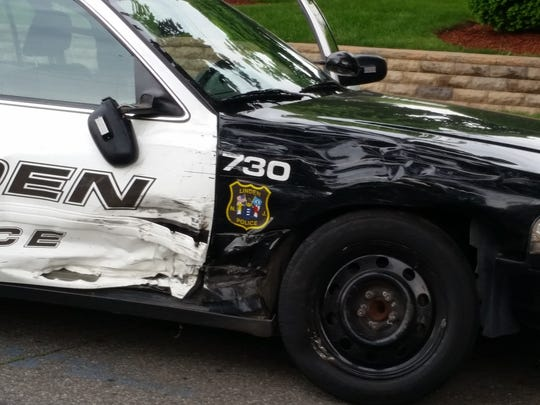 A Linden police car damaged in Tuesday's chase.