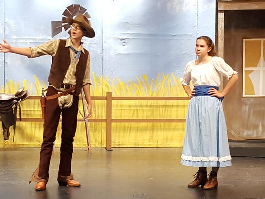"""Sophie Reid, as Laurey Williams, and David Femal, as Curly McClaine, will perform in the Central Wisconsin String Bean Players' performance of """"Oklahoma"""" on July 29-31, 2016."""