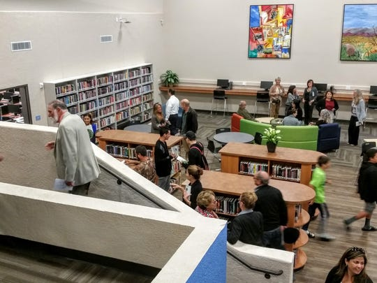 Visitors tour the new Library/Media Center at North  Monterey County High School.