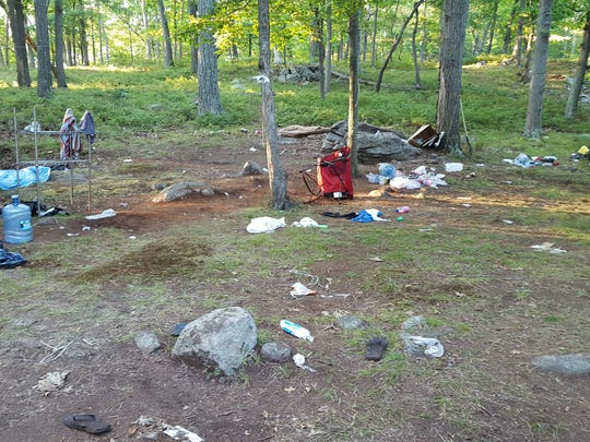 A an abandoned campsite at Lake Sebago.