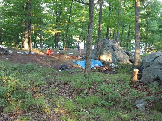 An abandoned campsite near the shore of Lake Sebago in Harriman State Park.