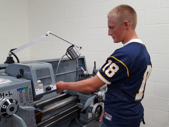 Wausau West junior Jacob Wolfe works on a new piece