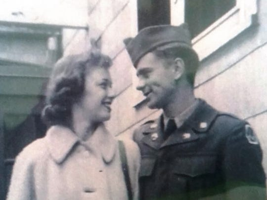 A photo from Private Donald Podany's war scrapbook by his daughter Kim and submitted by Dave Rizzo: Joann, Private Donald's fiancée bids him farewell as he departs for Korea to serve in the U.S. Army during the war in 1951.