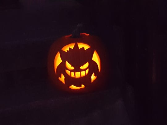 "The ""Gangar"" character from the game ""Pokemon,"" a #ValleyPumpkin"