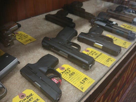Handguns for sale at Arthur's Shooters in Berlin.