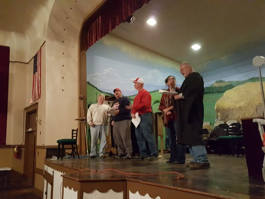 Mike Deicken, Jeff Jones, Mike Kuhn, Kelly Rice and Mike Forcum rehearse their parts for Germania Christmas. The annual show is this Friday and Saturday.