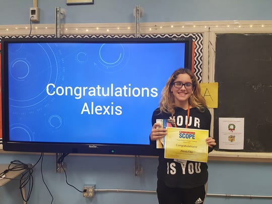 "Alexis Fitz, from  Eugenia Bonilla's Language Arts Class at Soehl Middle School, has been chosen as a winner of Scope's ""From Terror to Hope Context from the September 2016 issue."